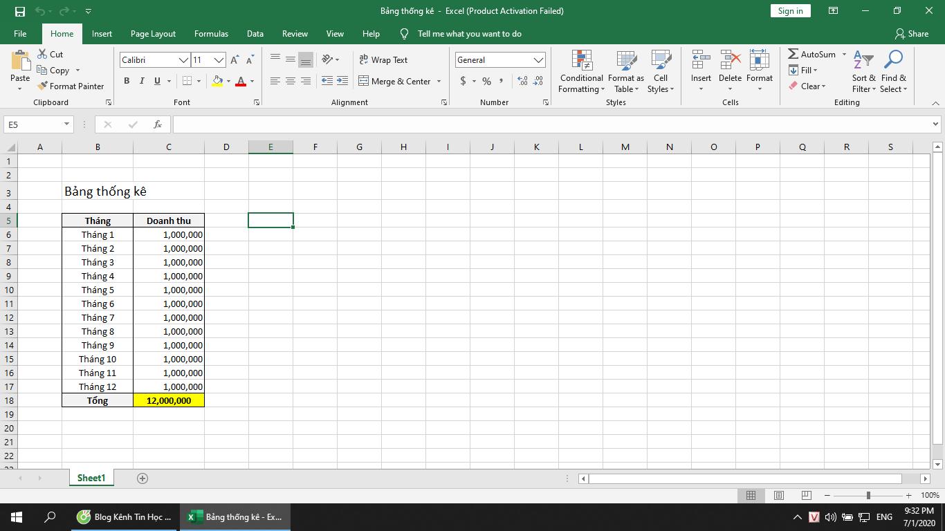 Bấm nhầm làm cột Excel bị rộng, không tính công thức