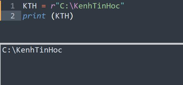 In ra chuỗi trần trong Python