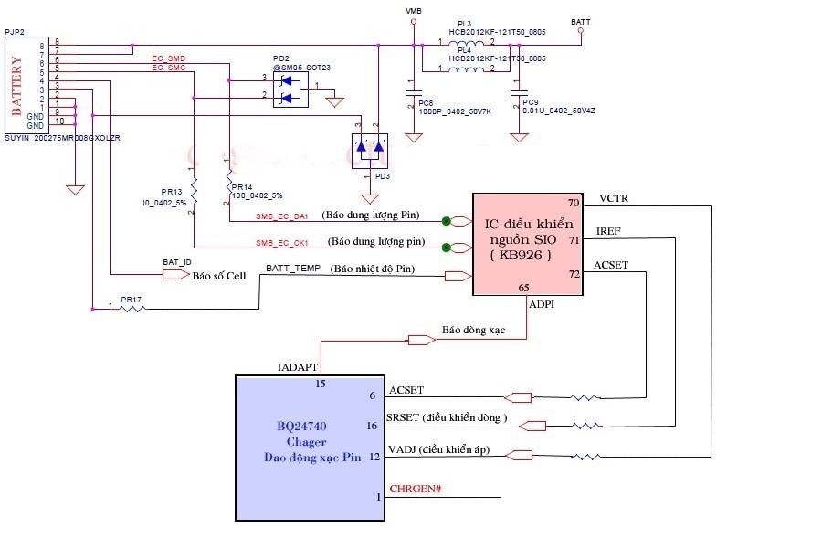 Sơ đồ mạch điều khiển sạc Pin Laptop