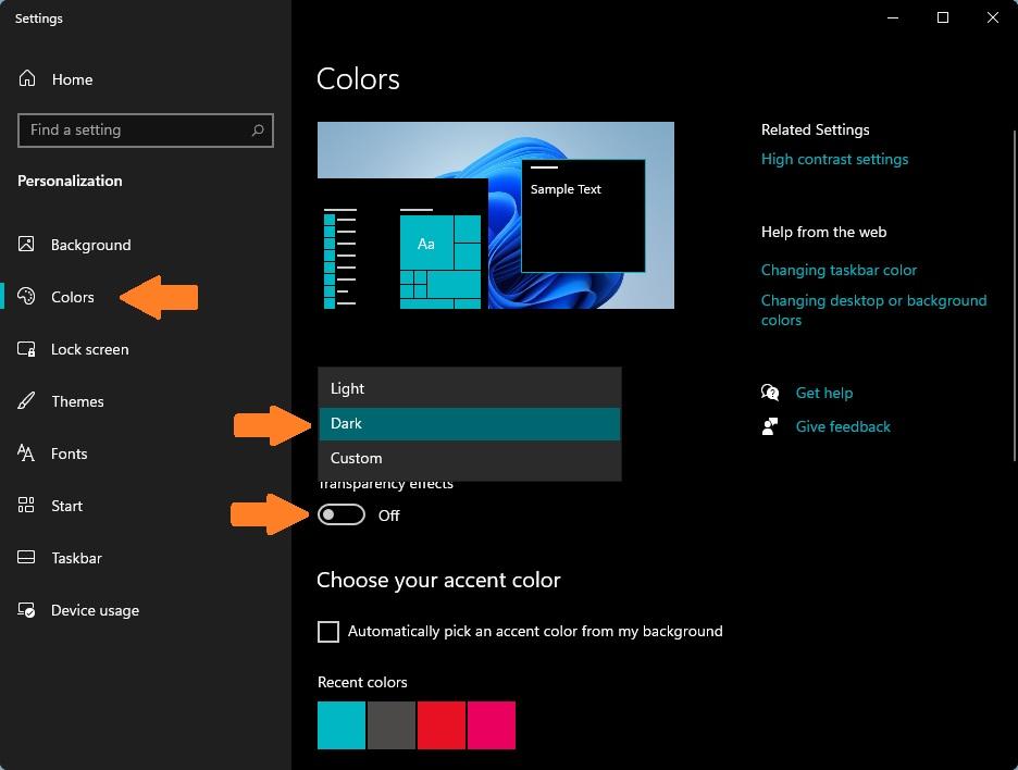 Bật tắt chế độ tối (Dark Mode) trên Windows 11 ở phần Color