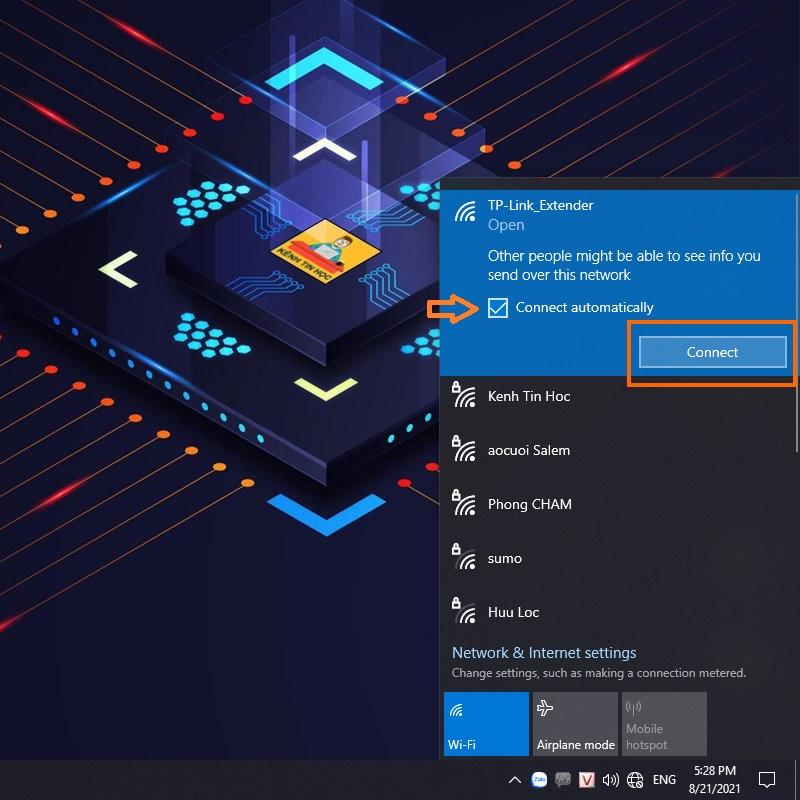 Kết nối vô wifi tên TP-Link_Extender