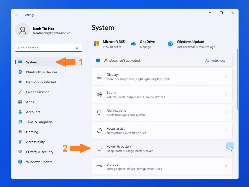 Mở Power & Battery trên Windows 11 để kiểm tra pin