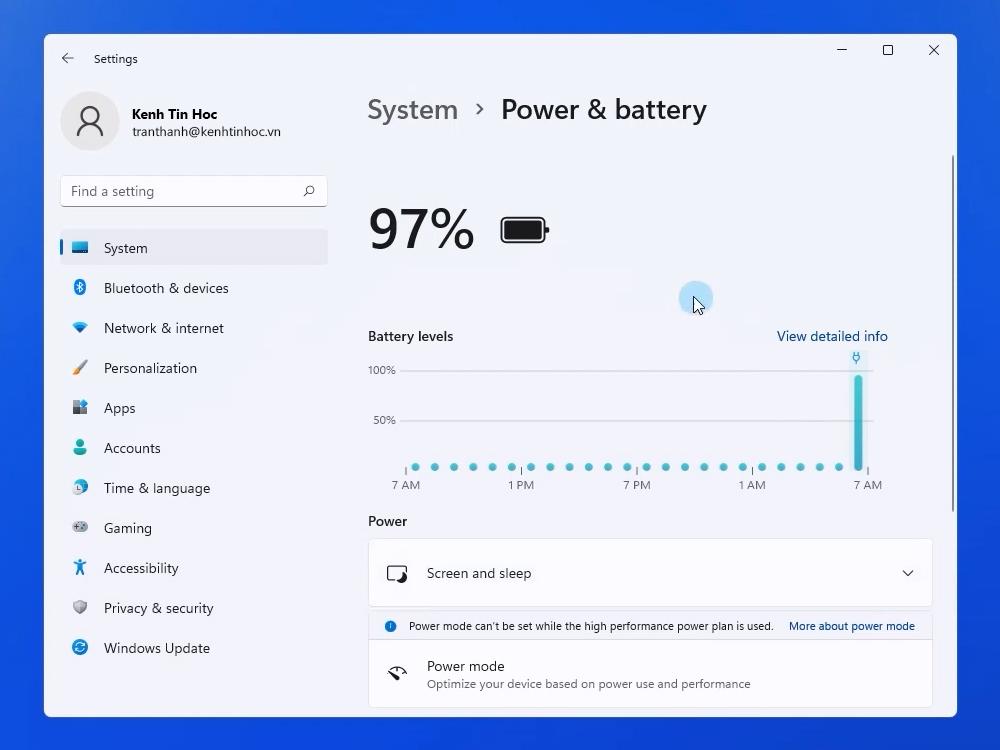 Power & Battery trên Windows 11
