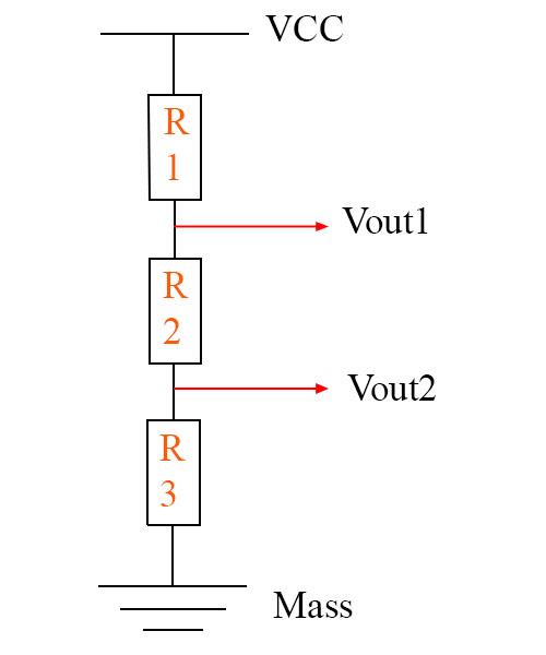 Sơ đồ cầu phân áp 3 điện trở